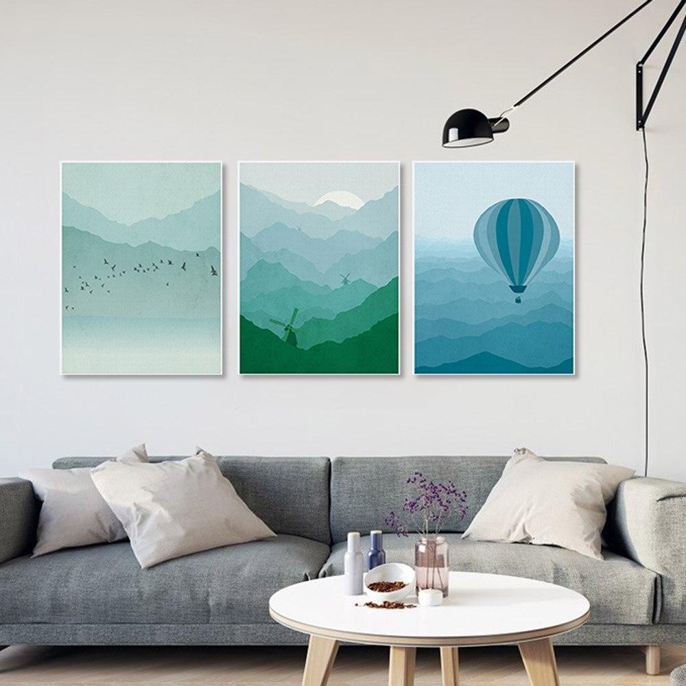 5 Piece Modern Abstract Landscape Canvas A4 Art Print ...