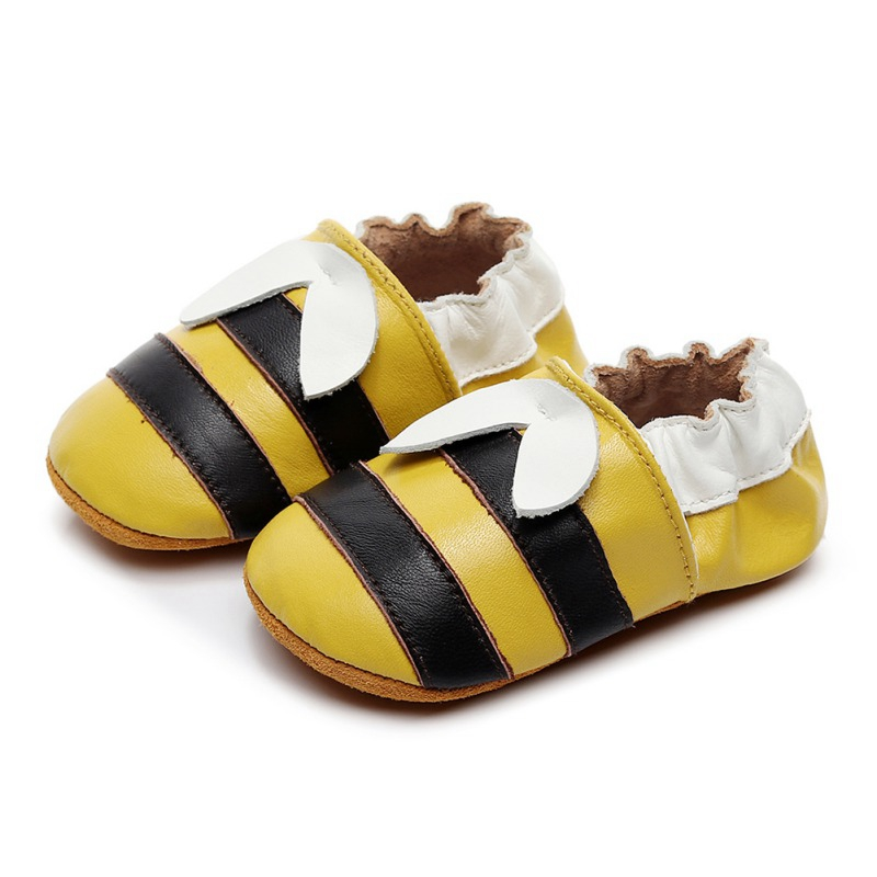 2019 Newborn Baby Boy Girl Shoes Cute Little Bee Leather Stitching Baby Anti-slip Shoes 0-2Y Toddler First Walker