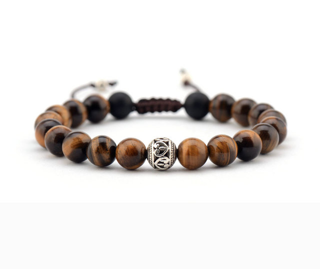 Men Bracelet 8mm Tiger Eye Tibetan Beads Punk Handmade Friendship Bracelets Mens Charm Dropship
