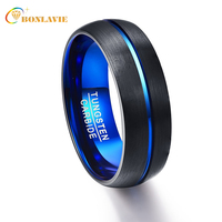 2017 Party Ring Round Blue Groove Men Rings Tungsten Carbide Wedding Bands Anillos para hombres Pierscienie