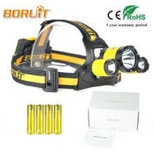 BORUIT Led Headlight 12000Lm Rechargeable Headlamp Flashlight Head Torch Linterna XML L2+2R5 Use AA Battery camping Fishing Lamp