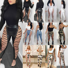 Summer Sexy Women Lace UP Pants Hollow Out PU Sexy Pants Clubwear High  Waist Skinny Stretch 3b9daf6193a5