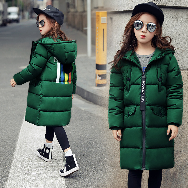 2017 Girls Winter Coat Overcoat Thick Children Cotton Hooded Jacket Kids Parkas Warm Wear Fashion Winter Coats for 4-14Y Outwear children winter coats jacket baby boys warm outerwear thickening outdoors kids snow proof coat parkas cotton padded clothes