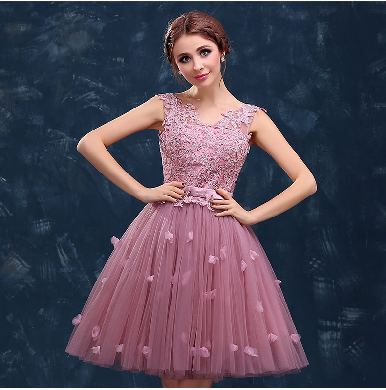 Pink Prom Dresses New Arrival The Bride Banquet Sweet Lace ...