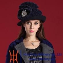 Free Shipping Fashion Elegant Classic Fashion Woman Hat Wool Felt Hats Natural 100% Wool the Navy Flower Adornment Brim Fashion