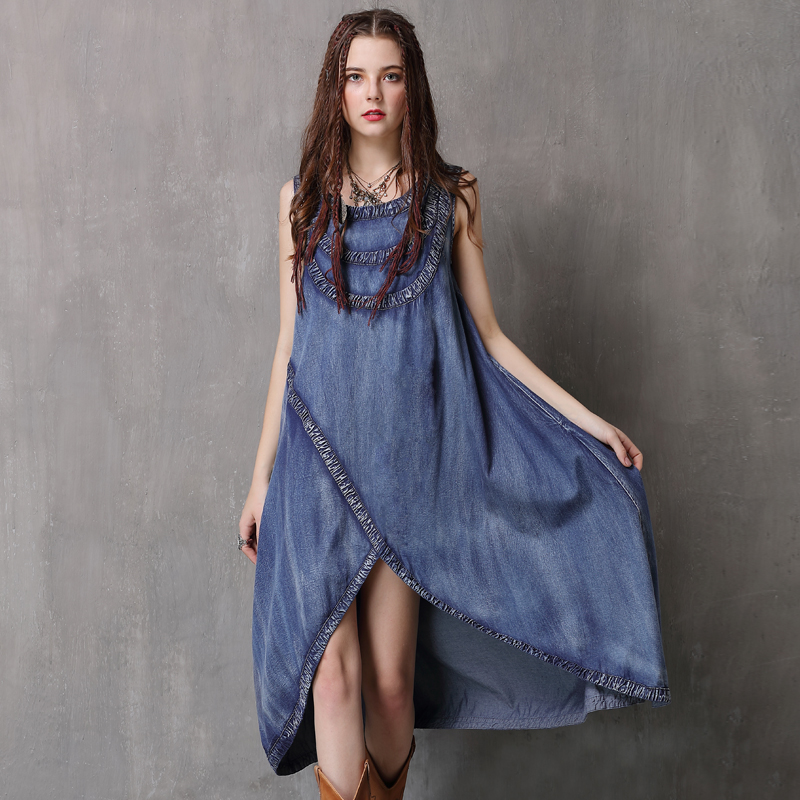 Women Dress 2018 Keer Boho Cotton Denning Dresses O-Neck Sleeveless Asymmetrical Vestidos A82081 Vintage Denim Vestido Feminina