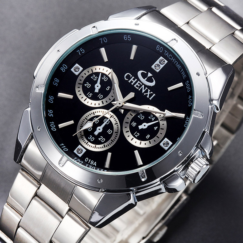 CHENXI Brand Luxury Silver Men Casual Watch Fashion Quality Stainless Steel Business Dress Watch for Men Women Lover's Clock