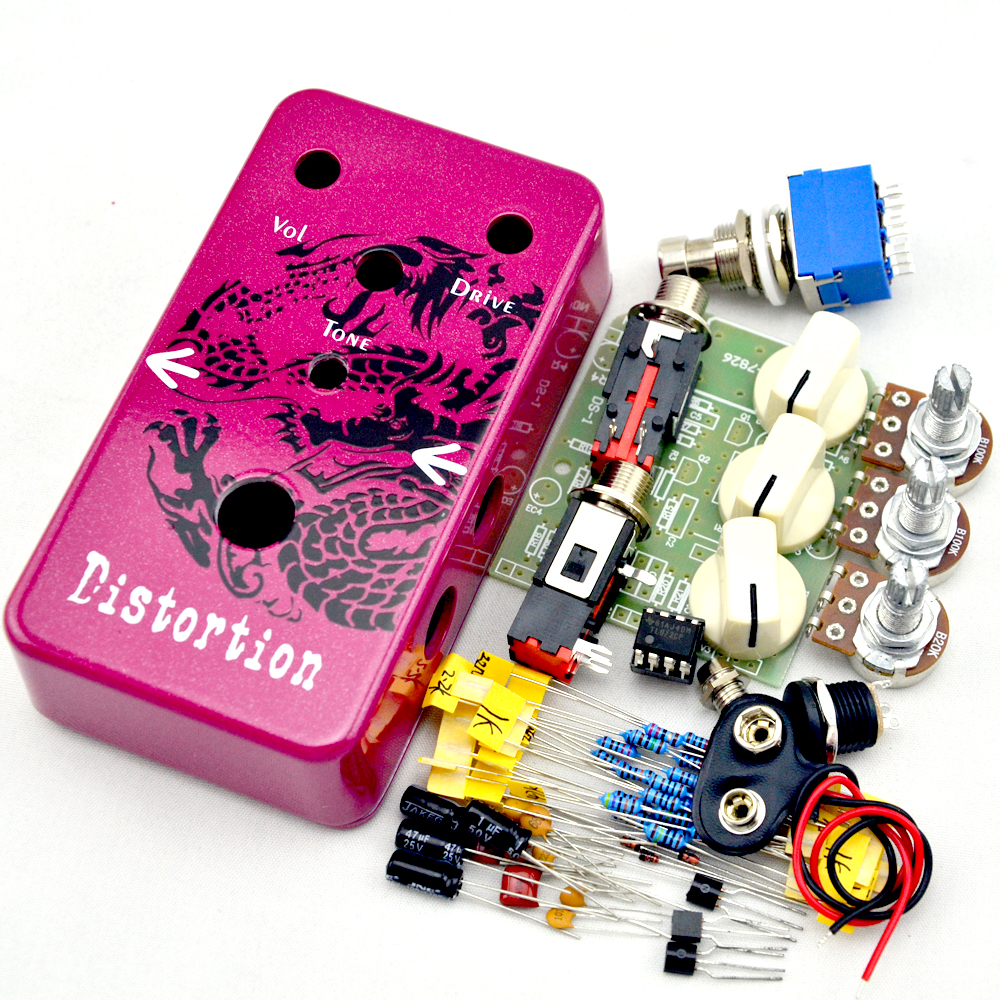 Make Your Own  Distortion Effect Pedal  kit With 1590B  True Bypass   Dragon Guitar Parts & Accessories aroma adr 3 dumbler amp simulator guitar effect pedal mini single pedals with true bypass aluminium alloy guitar accessories