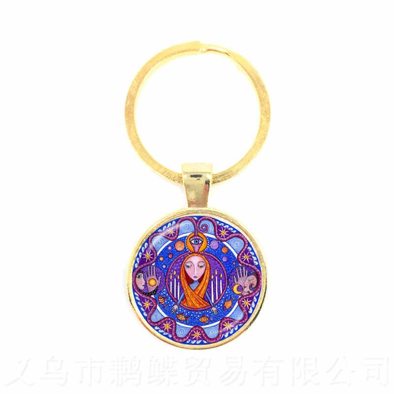 Buddyzm brelok Mandala obraz szkło Cabochon brelok świętej geometrii joga Om moda biżuteria nowy 2018 klucz pierścień