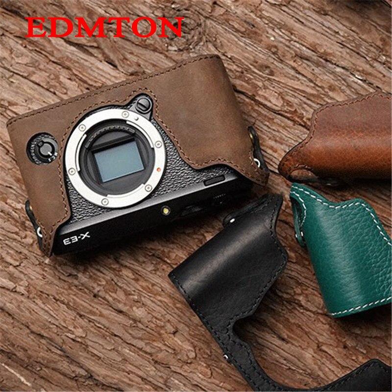 Mr.Stone Genuine Leather Camera case Handmade Video Half Bag For Fuji XE-3 Fujifilm XE3 Openning Battery