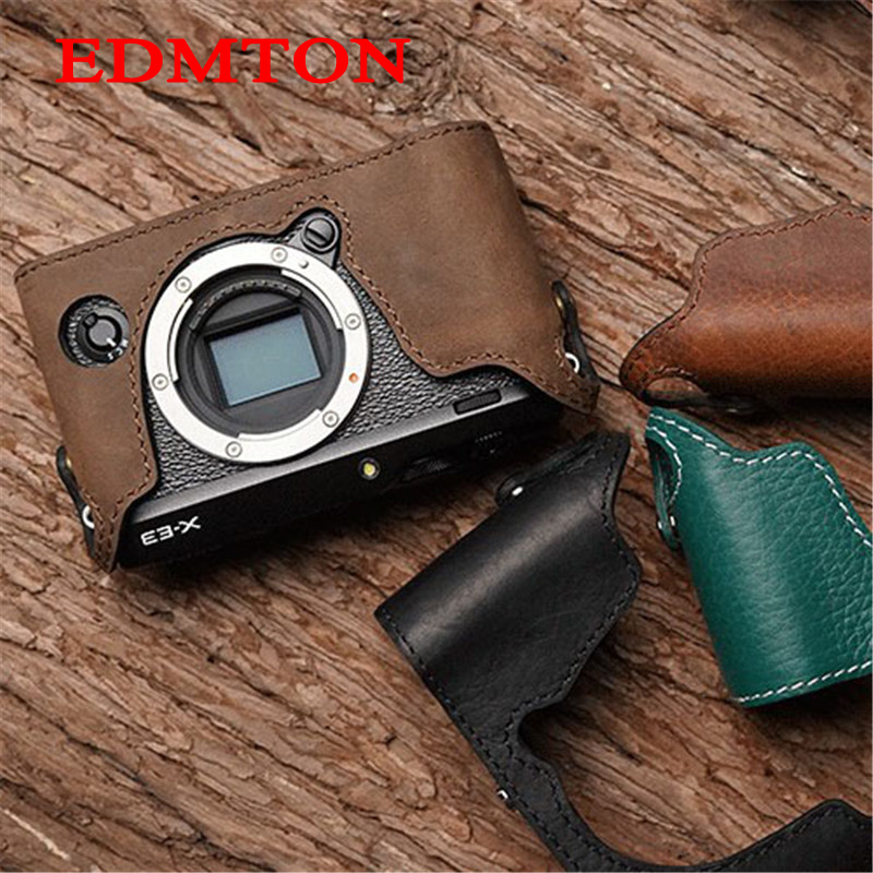 Mr.Stone Genuine Leather Camera case Handmade Video Half Bag For Fuji XE-3 Fujifilm XE3 Openning Battery