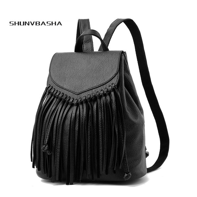 6d02160ac4 Customize Women PU Leather Backpacks School Bag For Girls Female New Style  Travel Shoulder Bag drawnstring backpack with tassel