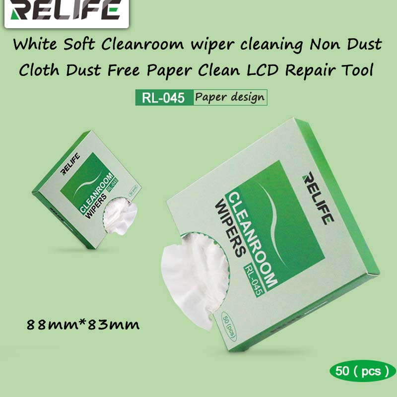 50Pcs/Lot White Soft Cleanroom Wiper Cleaning Non Dust Cloth Dust Free Paper Clean LCD Repair Tool 88mm X 83mm