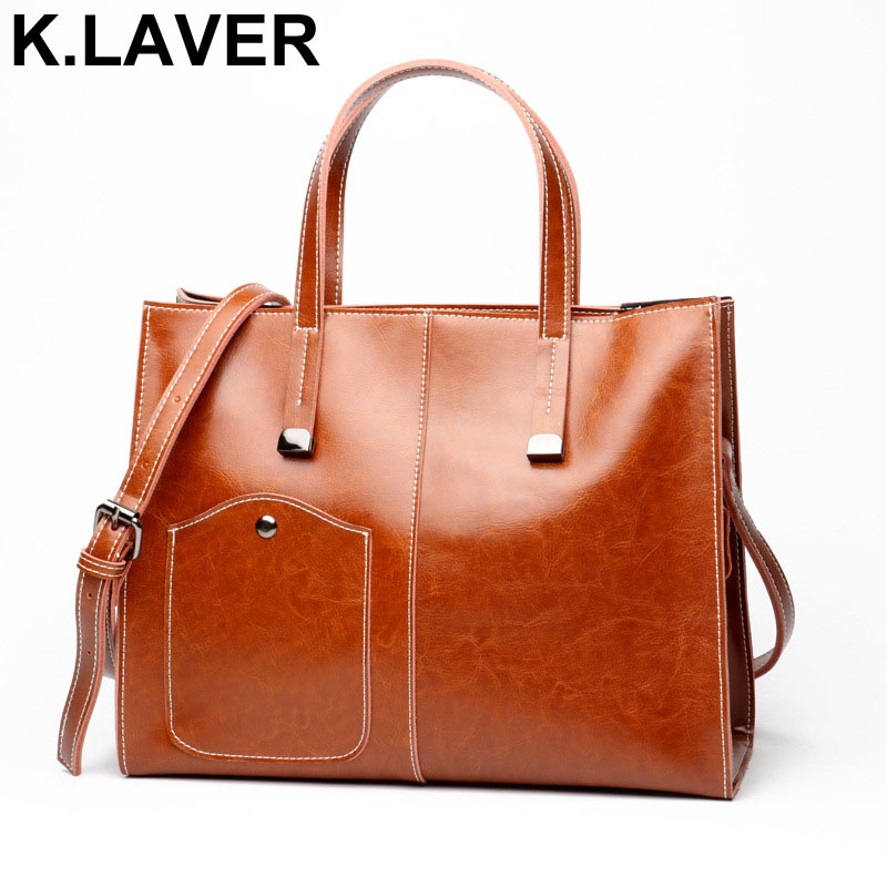 K.LAVER 100% Genuine Leather Bag Female Large Shoulder Bag for Women Luxury Famous Brand Women Handbag Cross body Messenger bags