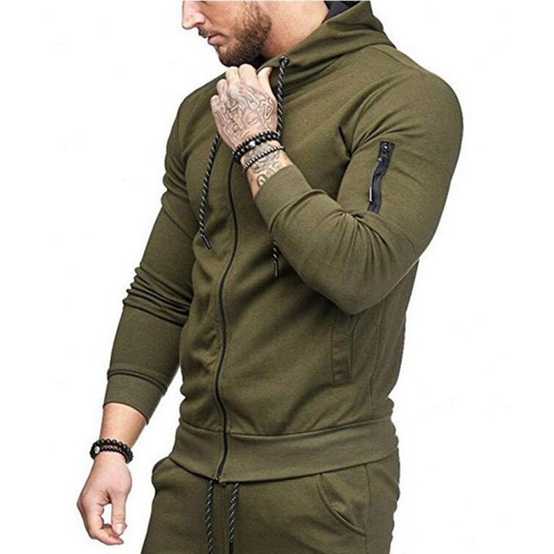 HTB1Ge91atfvK1RjSspoq6zfNpXa1 HEFLASHOR Men Drawstring Sportwear Set Fashion Solid Sweatshirt&Pants Tracksuit Casual Zipper Hoodies Outwear Clothes 2019