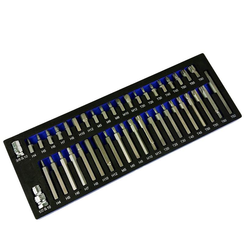 43 pcs Socket Set Kit di Strumenti di Riparazione Esagonale Torx Punto 12 Spline Cacciavite bit Set Automobili Strumento di Kit Per Auto