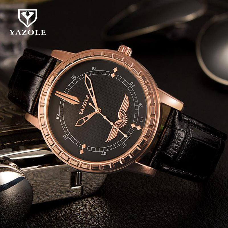Luxury YAZOLE Wings Gold 3ATM Leather Quartz Black Brown Dress Wrist Watch Wristwatches Clock for Men Male 387 100% new luxury rose gold bling crystal leather quartz wristwatches wrist watch clock for men male women ladies couple