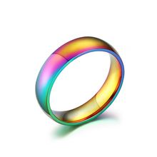 Rainbow Colorful Men Ring Titanium Steel Wedding Rings for women Party Fashion Casual Aneis Feminino 2016 Jewelry Ringen