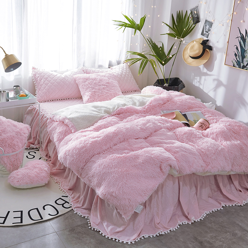 Winter Pure Color Mink Velvet Bedding Sets lambs wool Fleece Duvet Cover set Quilting Bed skirt Twin Queen King size 3/4/6/7 pcsWinter Pure Color Mink Velvet Bedding Sets lambs wool Fleece Duvet Cover set Quilting Bed skirt Twin Queen King size 3/4/6/7 pcs