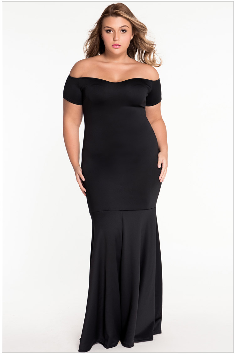 Fashion Women Plus Big Size XXXXL Elegant Dresses Simple Wear Sheath Trumpet Bodycon Maxi Dress Strapless Vintage Dress Women