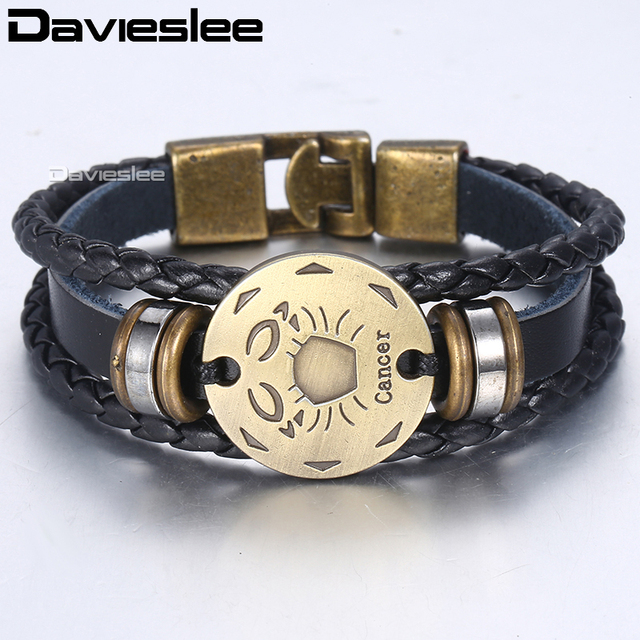 Davieslee 12 Horoscope Leather Bracelet For Men Vintage Retro Charm Male Bracelets Men's Jewelry Gifts Leo Zodiac Sign DLBM136A