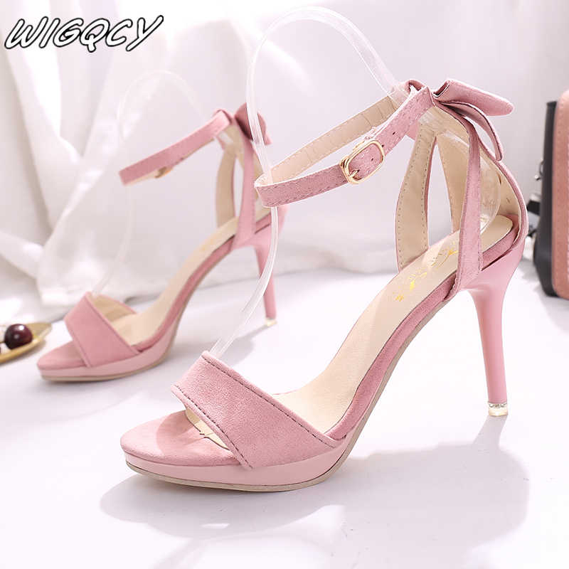 Woman sandals 2019 Korean summer open toe suede stiletto heel sandals bow trend shallow mouth solid sexy prom wedding shoes