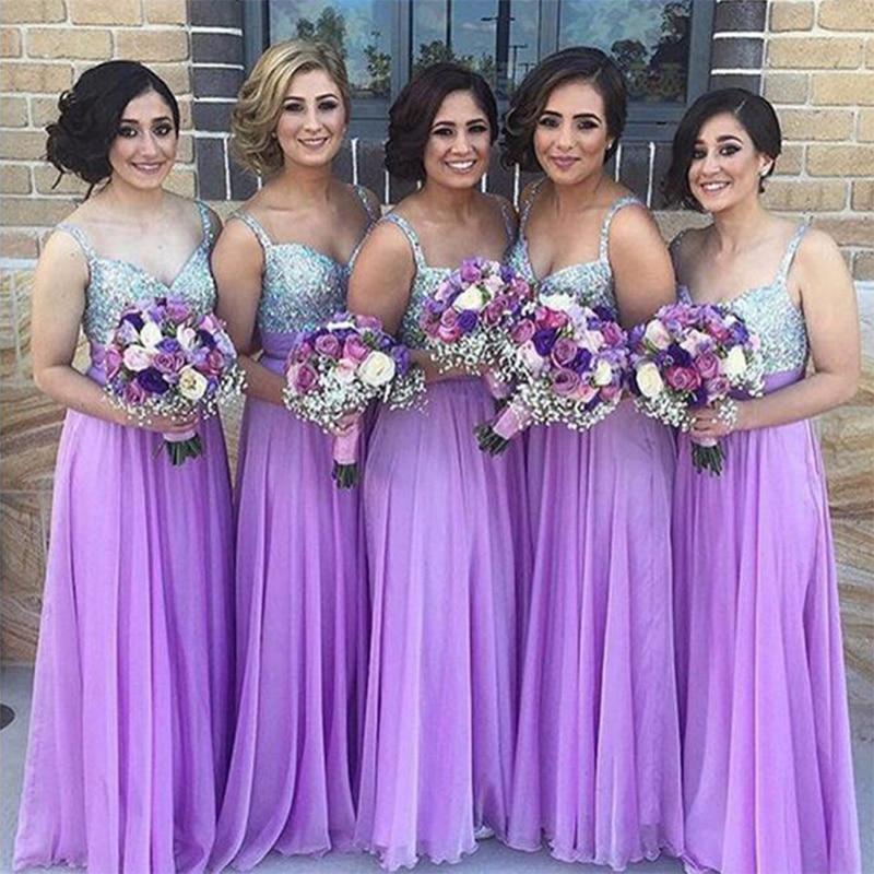 Lavender Bridesmaid Dresses Long Chiffon Pleated A Line Alibaba ...