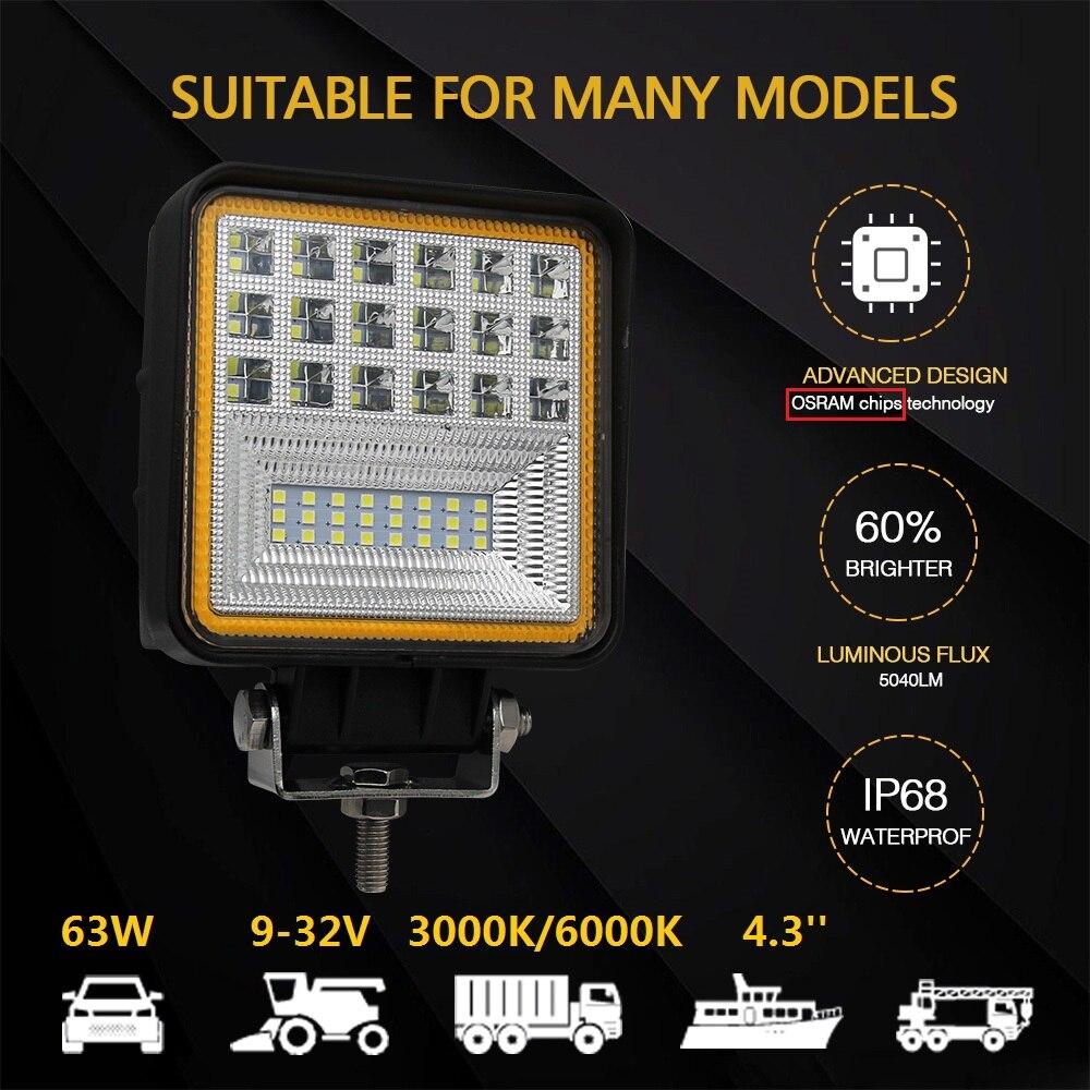 Со светом квадратный 63 Вт автомобиль спереди свет 6000 К 3000 К светодиодный фонарь 9-32 В потока для Hyundai Kia газ ВОЛГА ford Honda Велосипедный Спорт При...