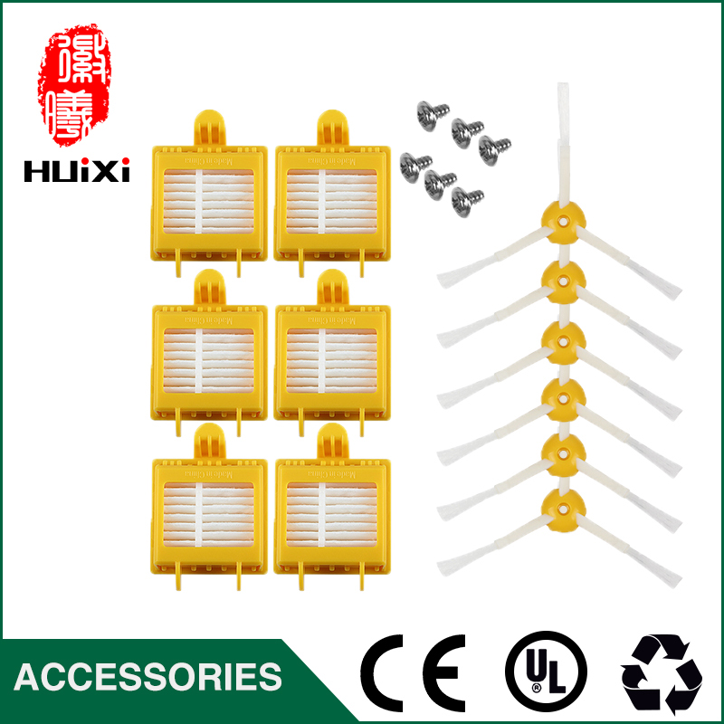 6 Yellow HEPA Filter+ 6 Side Brush +6 Screw Pack Set High Quality for Robot Vacuum Cleaner Parts Home Clean for 700 760 770 780 bristle brush flexible beater brush fit for irobot roomba 500 600 700 series 550 650 660 760 770 780 790 vacuum cleaner parts