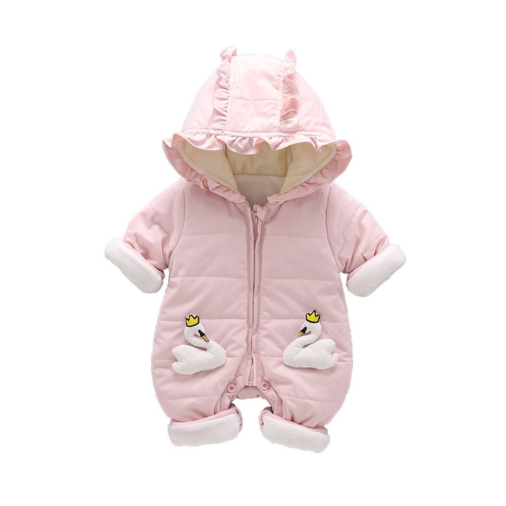 Baby Boys Girls Romper Winter Warm Cute Cartoon Cygnets Jumpsuit Toddler Clothing Infnat Baby Cotton Romper 0 12months autumn winter baby costume infant clothes girls boys romper warm cartoon cute hooded jumpsuit newborn clothing bc1372