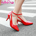 VALLKIN 2017 High Heel Woman Pumps Pu Ankle Strap Wedding Women Shoes Pointed Toe Spring Autumn  Party /OL Shoes Big Size 34-43