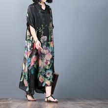2Pcs women dress Chinese Style flower Print Mandarin Collar Batwing Sleeve summer beach long dress Female vestidos crane print mandarin collar dress