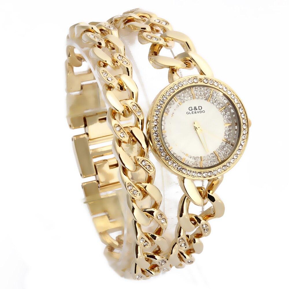 XG60 nouvelle montre pour femme de luxe montres à Quartz analogique en acier inoxydable bande strass Bracelet Double chaîne