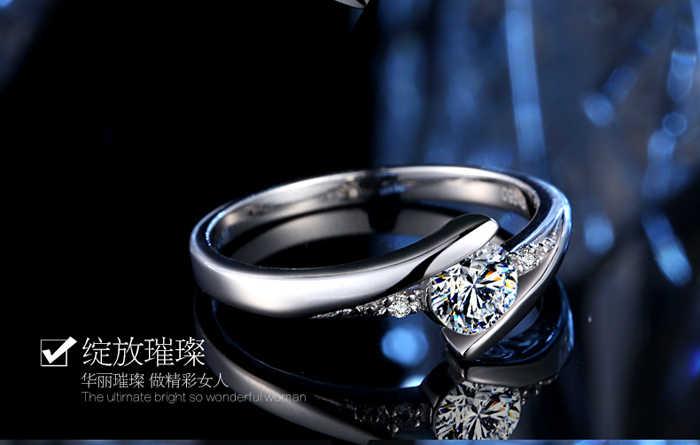 ส่งใบรับรองเงิน! YINHED 100% แท้ 925 แหวนเงินชุด Luxury 0.5 CT CZ Diamant แหวนสำหรับผู้หญิง ZR327