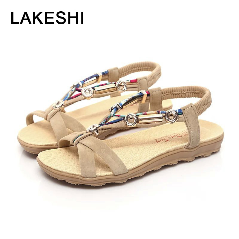 LAKESHI Women Sandals Women Flat Sandals Bohemian Flip Flops Summer Women Shoes Ladies Flat Shoes Red Casual Beach Sandals 2018 new bohemian women sandals crystal flat heel slipper rhinestone chain women casual beach shoes size 34 44