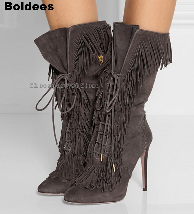Fall Spring solid Suede grey color lace up fringed mid-calf boots pointed toe side zipper high heels tassels boots women booties цены