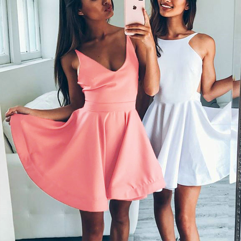 2018 Summer Boho Beach Dress Women Sexy Deep V-Neck Ruffle Mini Dress Ladies Elegant Sleeveless Party Club Desses Robes
