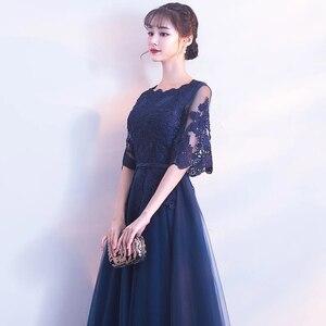 Image 3 - DongCMY Neue Ankunft Abendkleid Bandage Spitze Stickerei Luxus Satin Kurzen Ärmeln Lange Elegante Robe De Soiree Kleid