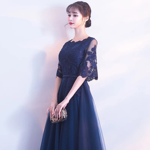 Image 3 - DongCMY New Arrival Evening Dress Bandage Lace Embroidery Luxury Satin Short Sleeved Long Elegant Robe De Soiree Gown