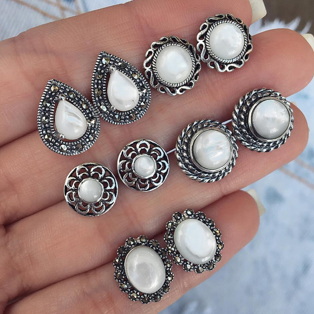 5 Pairs/Set Big Opal Stud Earrings for Women Wedding Party Boucle D'oreille Earring Jewelry Dazzling Cubic Zirconia Brincos 2019