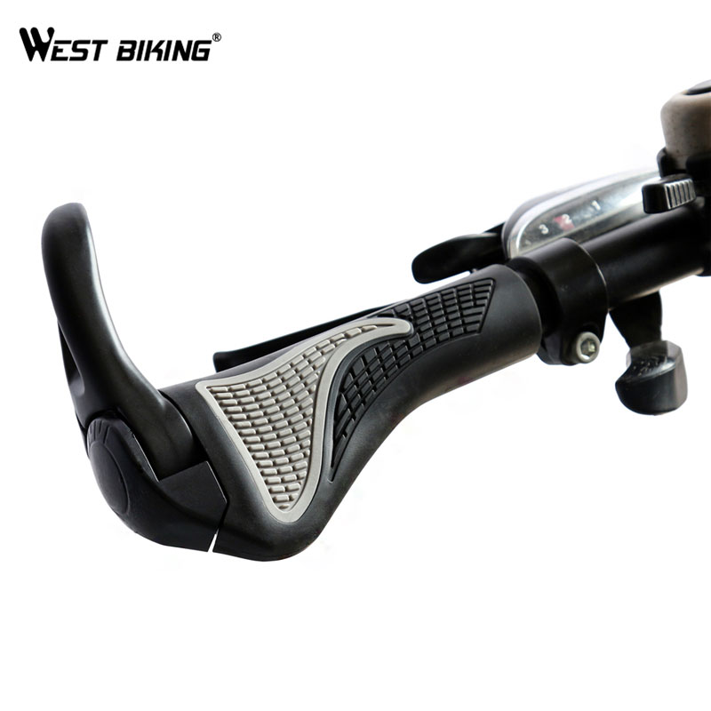 WEST BIKING Aluminum Rubber Bike Bicycle Grips Ends MTB Bike Handlebar Grips Soft Bicycle Handle Bar End Caps Lock On Bike Grips 7 colors cnc aluminum universal motorcycle handlebar grips ends bar ends grips handlebar caps for kawasaki z750 yamaha honda ktm