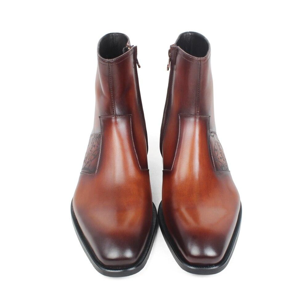 Do Vaca Pé Genuíno Dedo Vikeduo Botas Custom Couro Homens Gravura Made Brown Marrom Mans Zapato Inverno Outono Calçado Quadrado Pátina Hombre De xfwqTpI