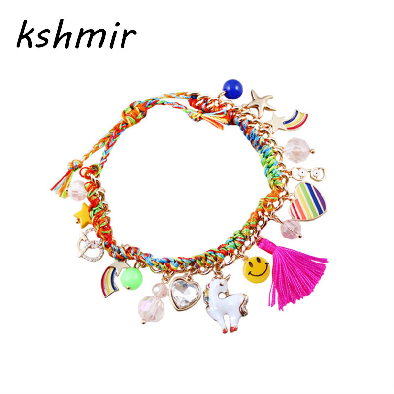 2018 the new bracelet The European and American wind color woven rope rainbow pink fringed heart bracelet female stars