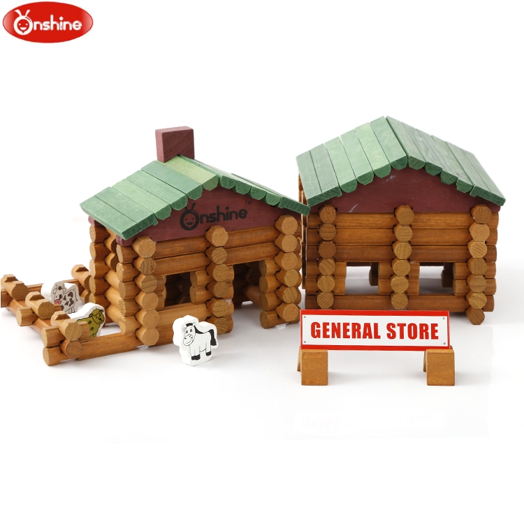 Onshine Baby Toys 170pcs Wooden Building Blocks Farm and shop log set Toys General Store Treehaus Lumber Birthday Gift