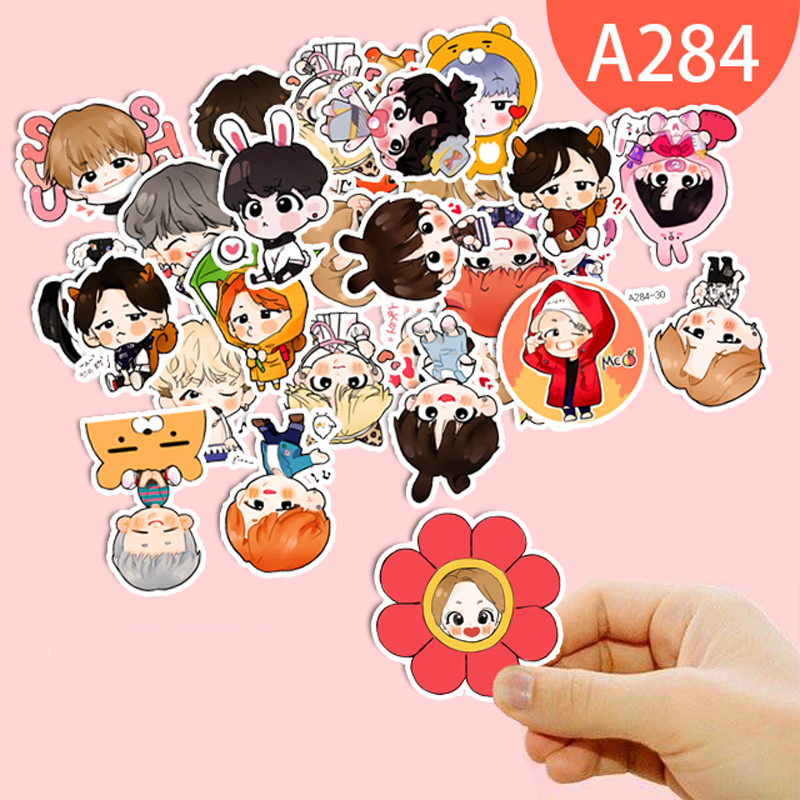 7 Style Cute Expression BTS Stickers Cartoon Handpainted Q Version Sticker For Luggage L ...