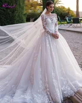 Gorgeous Appliques Chapel Train Ball Gown Wedding Dress 2019 Scoop Neck Beaded Long Sleeve Flowers Princess Bride Gown Plus Size - DISCOUNT ITEM  0% OFF All Category