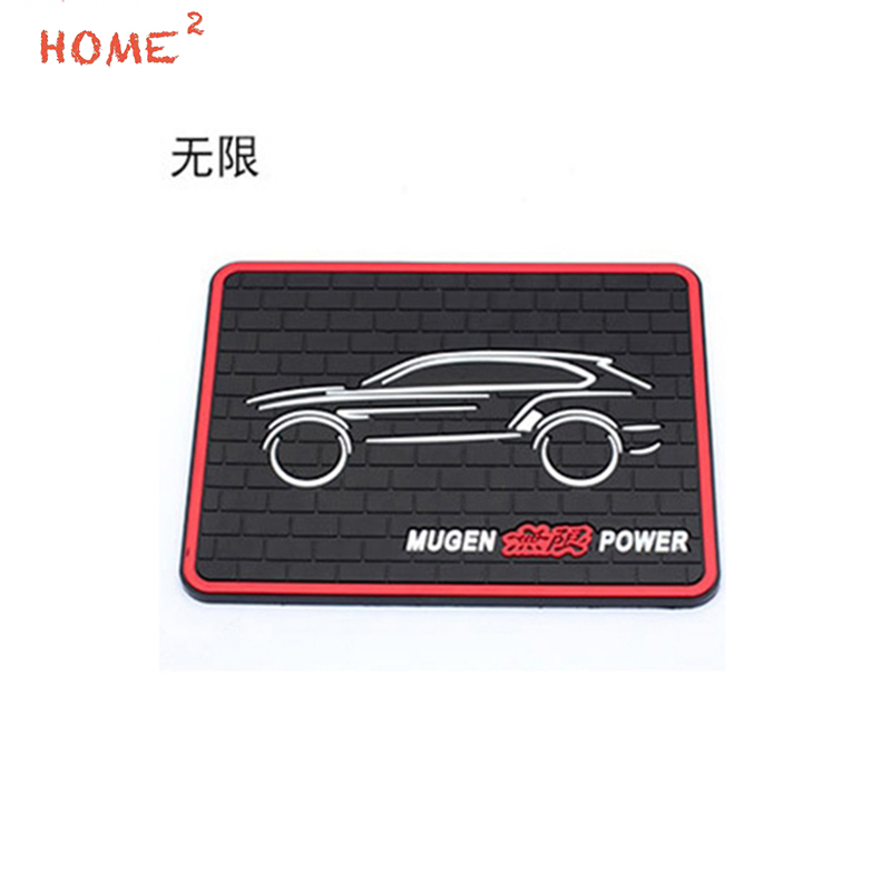 Car Styling Anti-Slip Pad PVC Phone Glasses Auto Non-slip Mat Interior Accessories for Mugen Power Logo for Honda H-RV Odyssey car interior rear cargo trunk mat pad 1set artificial leather for honda crv cr v 2017 2018 car accessories styling