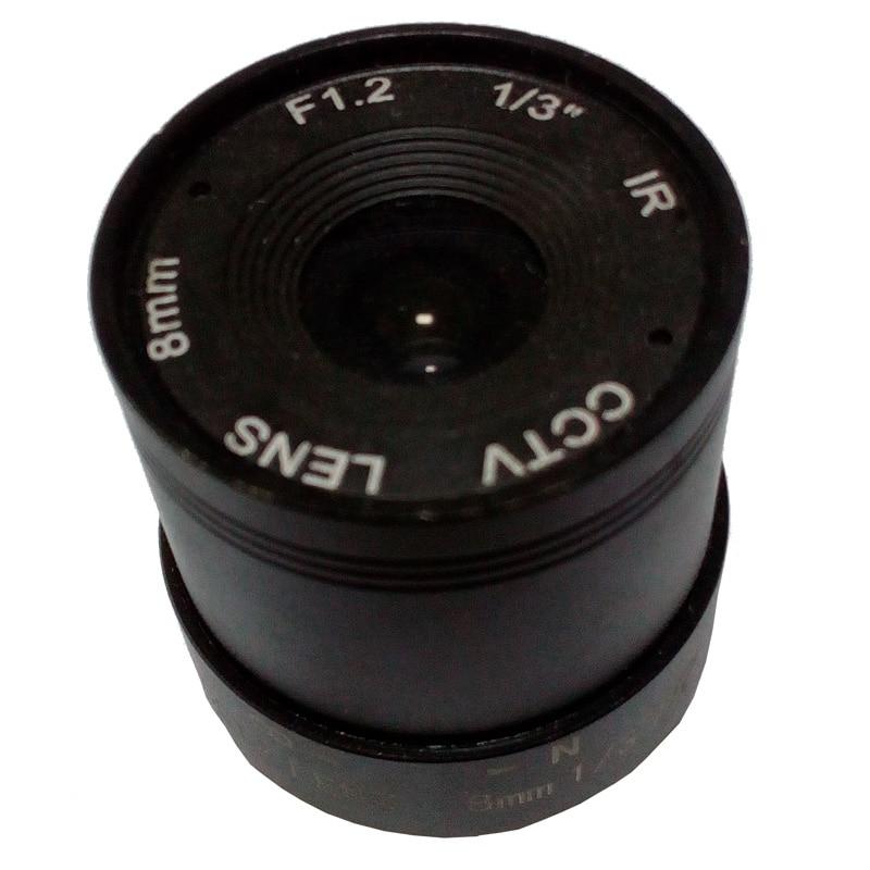 F1.2 8mm 1/3 CS Mount Fixed IR CCTV Camera Lens 8mm for cameras ip 8mm 12mm 16mm cctv ir cs metal lens for cctv video cameras support cs mount 1 3 format f1 2 fixed iris manual focus