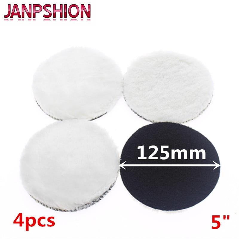 JANPSHION 4pc 125mm car polishing pad 5 inch polish waxing pads Wool Polisher Bonnet For Car paint Care spta polisher pad bonnet soft microfiber car polishing bonnet buffing pad cover for auto waxing polisher 5