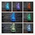 Frete Grátis Bela Ilusão 3D Padrão Menina Bonita Noite Luzes LED com Toque Candeeiro de mesa para Meninas Crianças Decoração da Sala